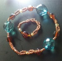 amber and blue bracelet and ring
